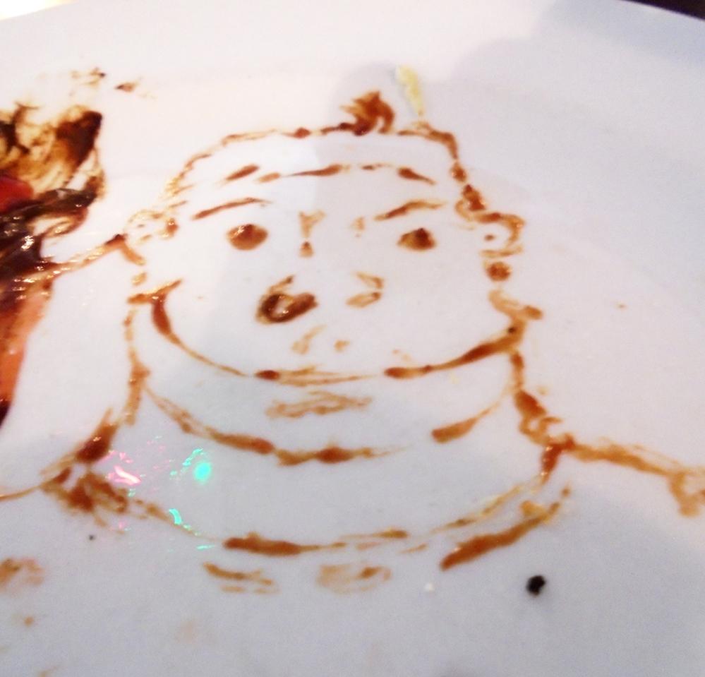 Retrato.  Autor: Jeremy (Australia, 1995)  Técnica: Ketchup sobre plato. Año de producción: 2014
